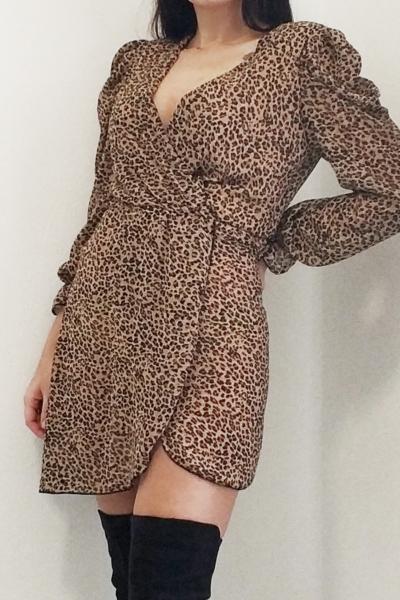 Φόρεμα animal print με βάτες