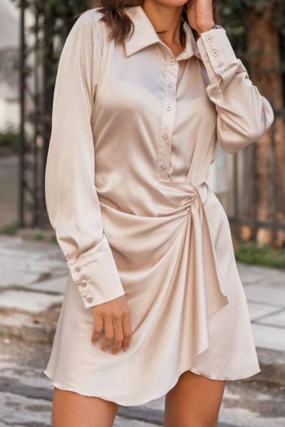 Φόρεμα σατέν μπεζ