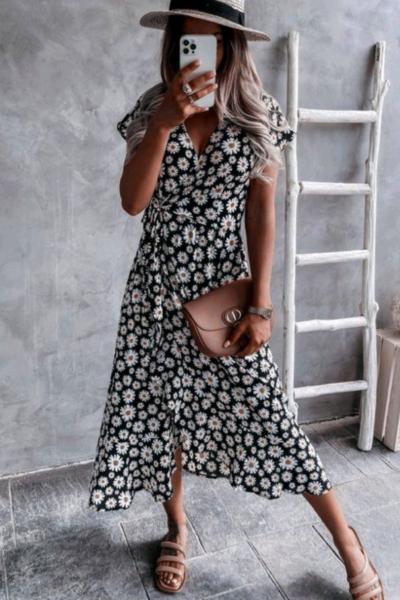 Φόρεμα Floral Μαύρο