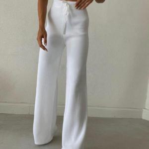 Παντελόνα Λευκή Πλεκτή