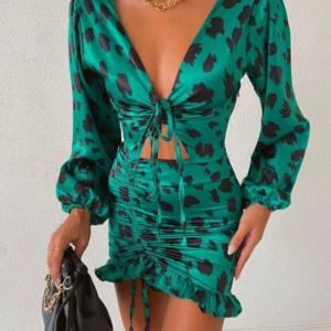 Πράσινο Λεοπάρ Φόρεμα